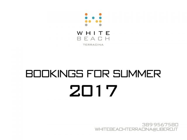 Bookings for summer 2017