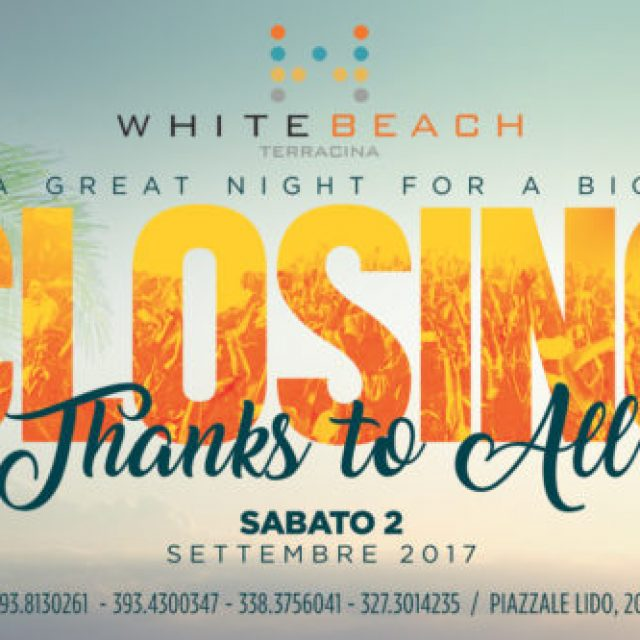 "SAB 2 SETTEMBRE ""CLOSING PARTY"""